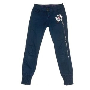Desigual Embroidered Dark Blue Joggers Pants